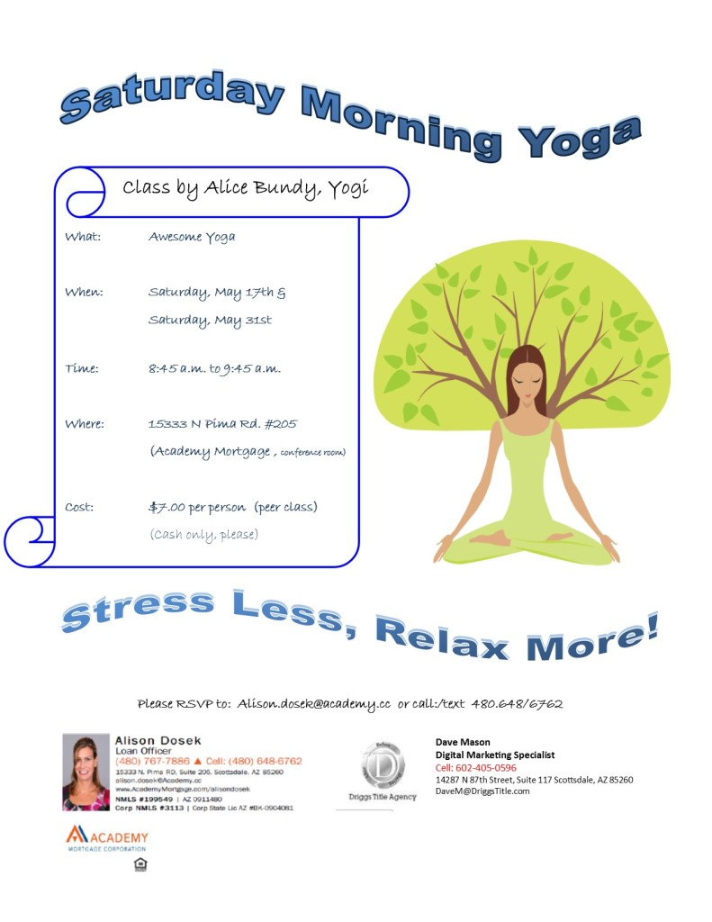 Yoga Flyer in May Cohosted by Driggs Title